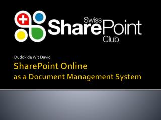 SharePoint Online  as  a  Document M anagement  S ystem