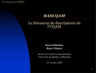 RASUQAM Le thésaurus de descripteurs de l'UQAM