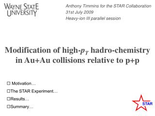 Modification of high- p T  hadro-chemistry in Au+Au collisions relative to p+p