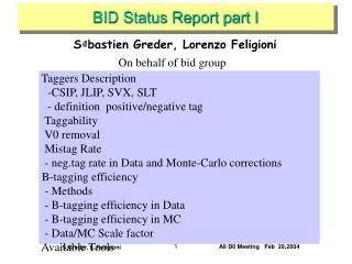 BID Status Report part I
