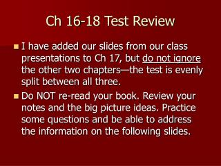 Ch 16-18 Test Review