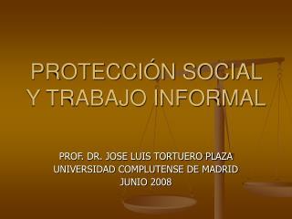 PROTECCIÓN SOCIAL Y TRABAJO INFORMAL
