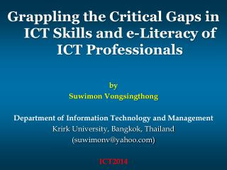 by Suwimon Vongsingthong Department of Information Technology and Management