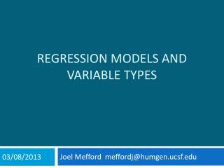 Regression Models and Variable types