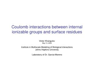 Coulomb interactions between internal ionizable groups and surface residues