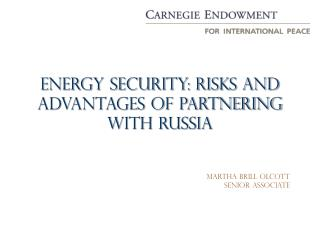 Energy security: Risks and Advantages of Partnering with Russia