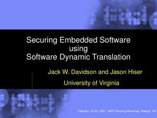 Securing Embedded Software using Software Dynamic Translation