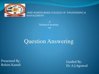 A              Technical Seminar                              on