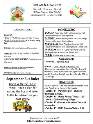 First Grade Newsletter Priceville  Elementary School
