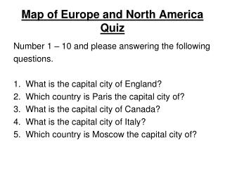 Map of Europe and North America Quiz