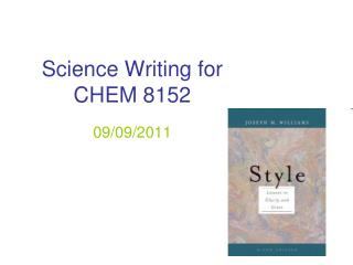 Science Writing for  CHEM 8152