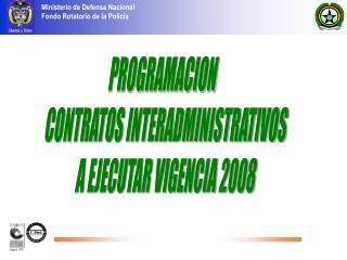 PROGRAMACION   CONTRATOS INTERADMINISTRATIVOS A EJECUTAR VIGENCIA 2008