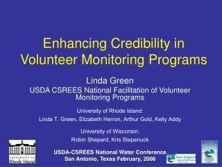 Enhancing Credibility in Volunteer Monitoring Programs