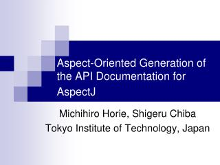 Aspect-Oriented Generation of the API Documentation for AspectJ