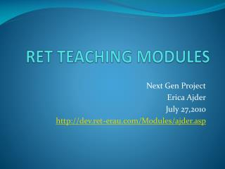 RET TEACHING MODULES