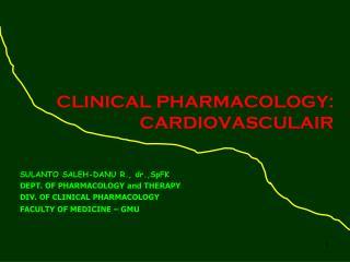 CLINICAL PHARMACOLOGY: CARDIOVASCULAIR