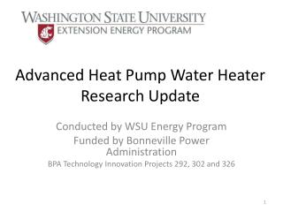 Advanced Heat Pump Water Heater Research Update