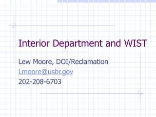 Interior Department and WIST