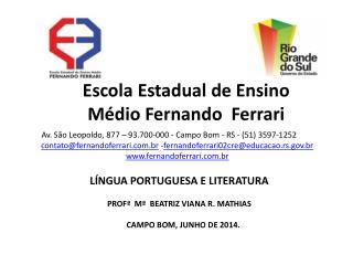 LÍNGUA PORTUGUESA E LITERATURA PROFª Mª  BEATRIZ VIANA R.  MATHIAS     CAMPO  BOM, JUNHO DE 2014.