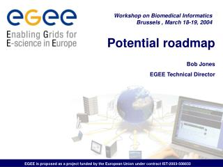 Potential roadmap Bob Jones EGEE Technical Director