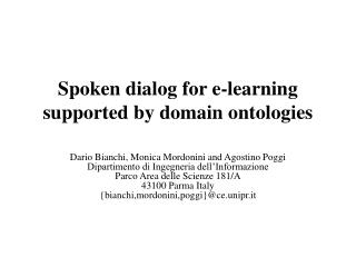 Spoken dialog for e-learning supported by domain ontologies