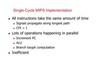 Single Cycle MIPS Implementation