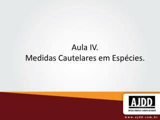 Aula IV. Medidas Cautelares em Espécies.