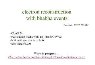 electron reconstruction with bhabha events