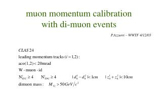 muon momentum calibration with di-muon events