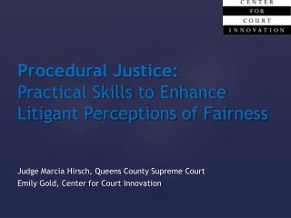 Procedural Justice: Practical Skills to Enhance Litigant Perceptions of Fairness