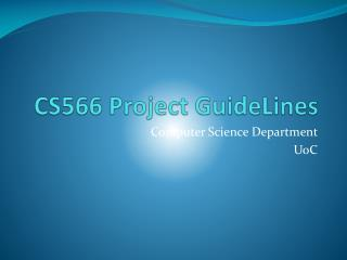 CS566 Project  GuideLines
