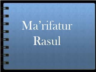 Ma�rifatur Rasul