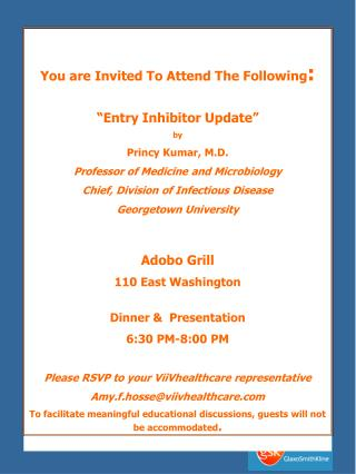 "You are Invited To Attend The Following : ""Entry Inhibitor Update"" by Princy Kumar, M.D."