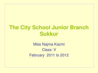 The City School Junior Branch Sukkur