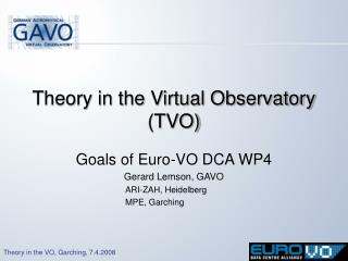 Theory in the Virtual Observatory (TVO)