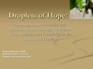 Droplets of Hope: