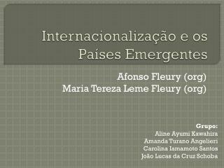 Internacionalização e os Países Emergentes