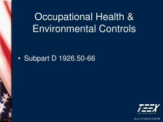 Occupational Health & Environmental Controls