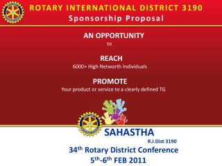 ROTARY INTERNATIONAL DISTRICT 3190 Sponsorship Proposal