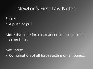 Newton's First Law Notes