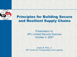 Principles for Building Secure and Resilient Supply Chains