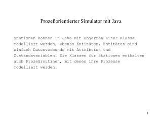 Prozeßorientierter Simulator mit Java