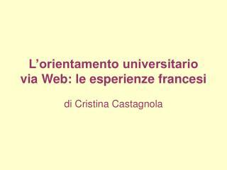 L'orientamento universitario via Web: le esperienze francesi