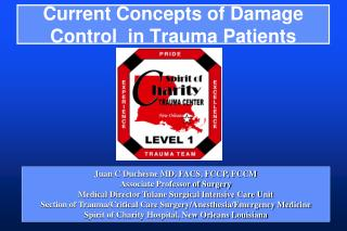 Current Concepts of Damage Control  in Trauma Patients