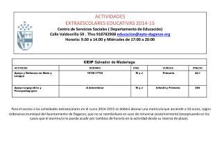 ACTIVIDADES EXTRAESCOLARES EDUCATIVAS  2014-15