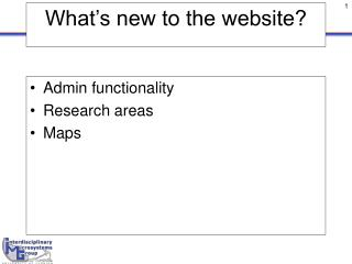 What's new to the website?
