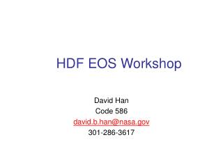 HDF EOS Workshop