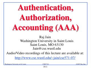 Authentication, Authorization, Accounting AAA