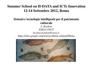 Summer School on H-DATA and ICTs Innovation 12-14 Settembre 2012, Roma