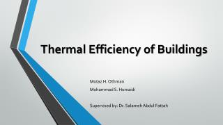 Thermal Efficiency of Buildings